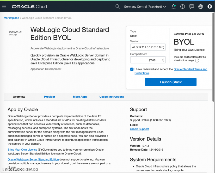 Oracle Cloud - Create WebLogic instance with database service or ATP database from marketplace image