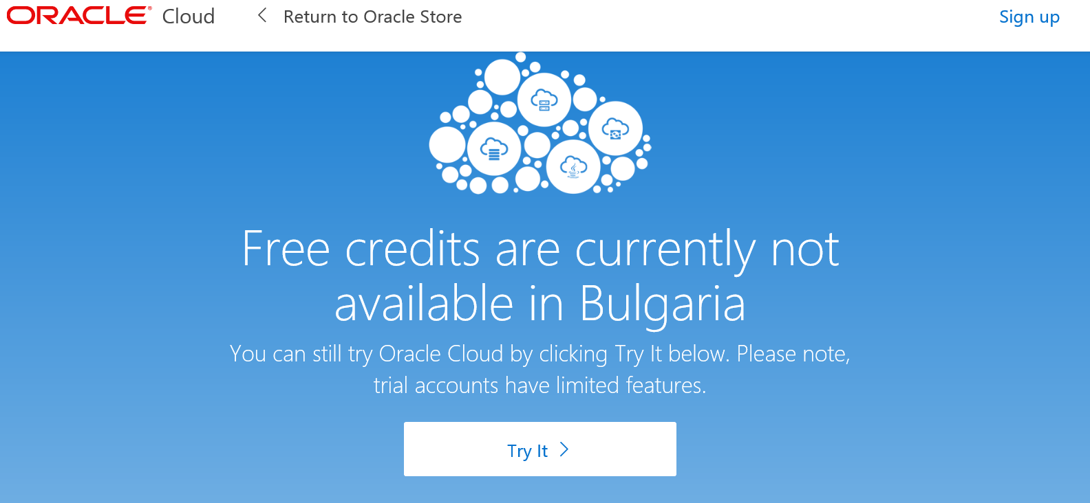 Bulgarian Oracle Users are forbidden for free credits!