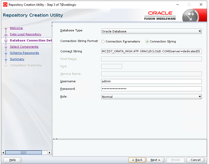 Oracle Cloud with WebLogic and ATP database - RCU Schema Creation and Product Load