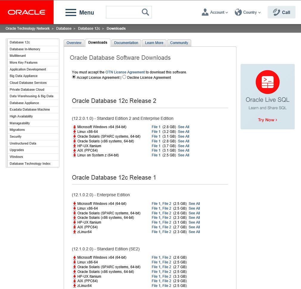 Oracle Database 12c Release 2 Enterprise Edition - Software