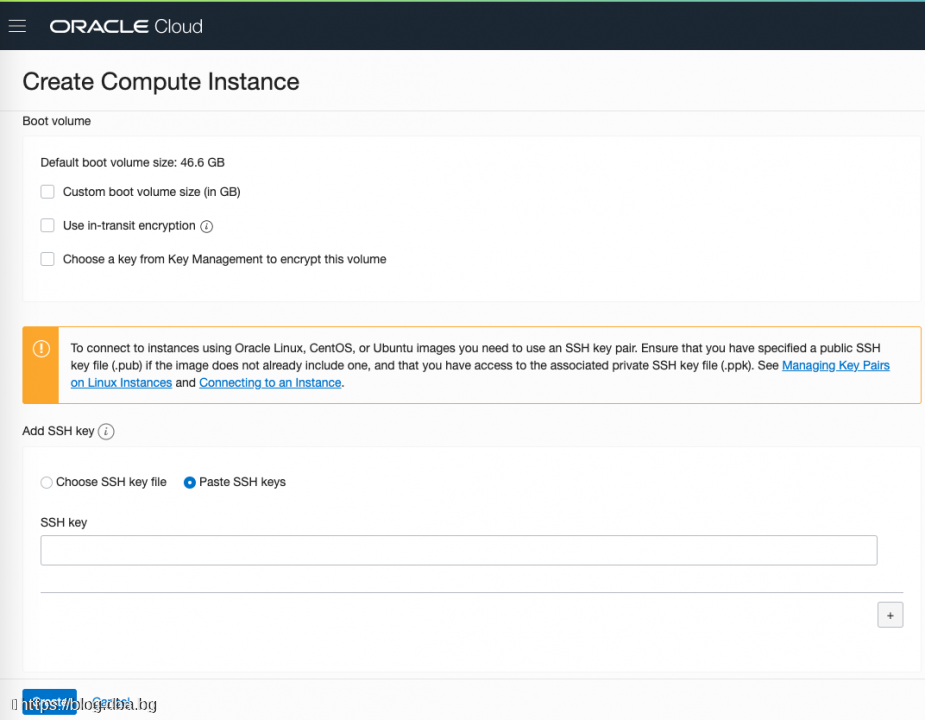 Oracle Cloud with WebLogic and ATP database - Create instance (Linux VM)